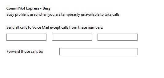 Call settings Busy tab