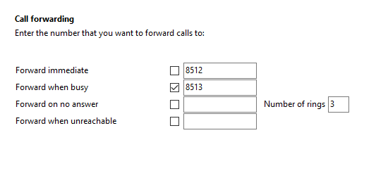 Call settings Call forwarding tab