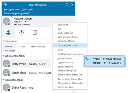 Skype for Business/Lync call using desk phone option